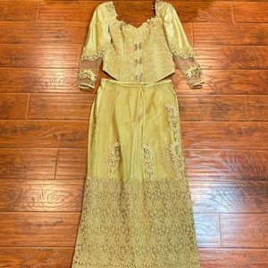 HANDMADE Lace Embroidered Top & Skirt